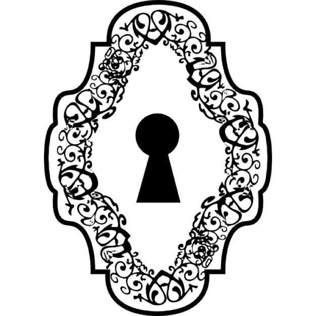 Schlüsselloch in einem verzierten vertikale symmetrische