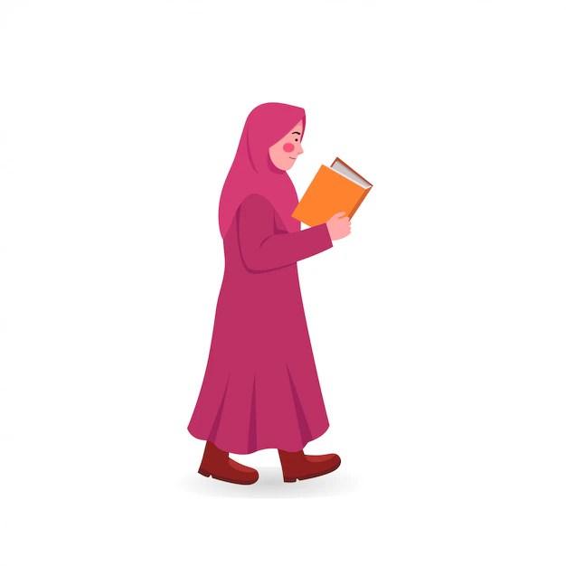"""""""queen on luna"""", questo il suo nome su instagram, non toglie mai il velo islamico, ma lo trasforma,. Carino Piccolo Hijab Ragazza Che Cammina A Leggere Il Libro A Fumetti Vettore Premium"""
