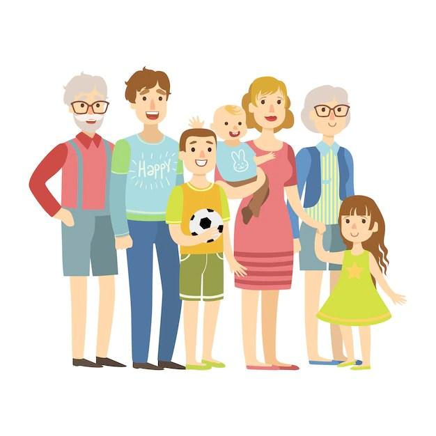 Famiglia Completa Con Genitori Nonni E Due Bambini Illustrazione Da Serie Di Famiglie Amorevoli Felici Vettore Premium