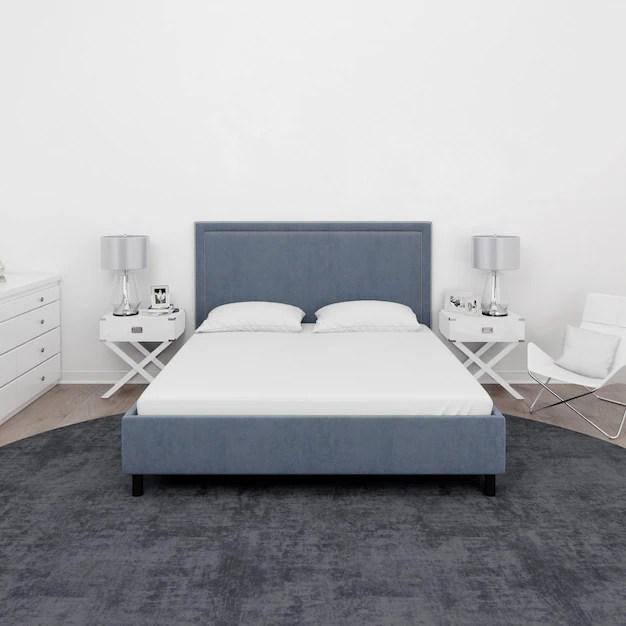lit double et mobilier blanc psd