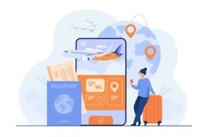 Application en ligne pour le tourisme. voyageur avec téléphone portable et réservation de passeport ou achat d'un billet d'avion. Vecteur gratuit