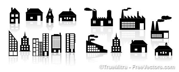 Bâtiments silhouettes. des maisons, des usines
