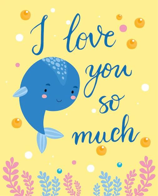 Carte De Voeux. Je T'aime Beaucoup Baleine | Vecteur Gratuite
