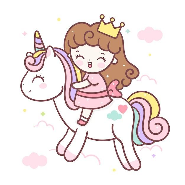 Dessin Animé Mignon De Licorne Et Petite Princesse   Vecteur Premium