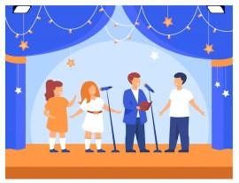 Enfants jouant à une fête ou à un concert Vecteur gratuit