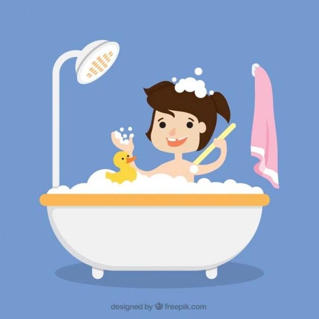 Fille De Prendre Un Bain Avec Son Jouet Tlcharger Des