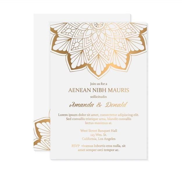 invitation de mariage de luxe vecteur
