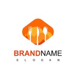 Restaurant logo vector avec symbole de silhouette cuillère