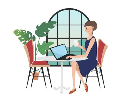 Carácter de la mujer en el freelancer que trabaja con una computadora portátil cerca de la ventana.   Vector Premium