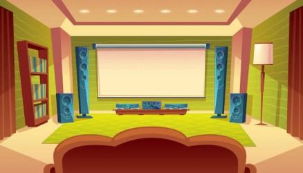 Cine en casa de dibujos animados con proyector sistema de audio y video dentro de la sala Vector Gratis
