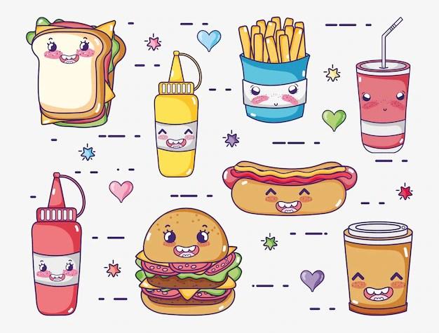 Coleccin de comida rpida dibujos kawaii  Descargar