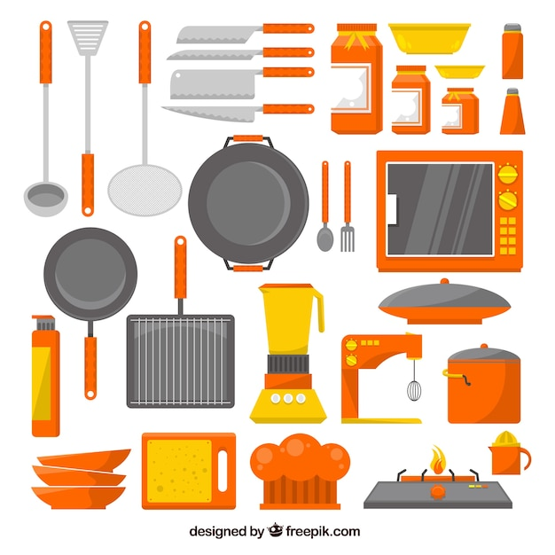 Coleccin de utensilios de cocina en diseo plano