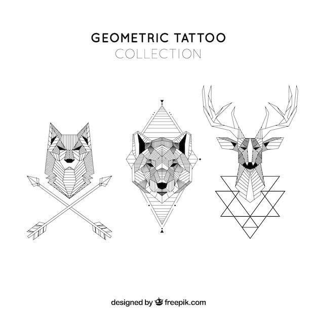 Colección De Tatuajes Geométricos De Animales Descargar Vectores