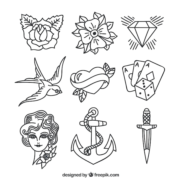 Colección de tatuajes variados dibujados a mano