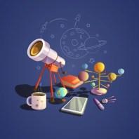 Concepto de astronomía con iconos de dibujos animados de ciencia retro vector gratuito
