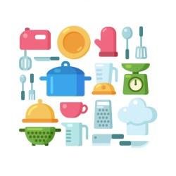 Conjunto de ilustración de utensilios de cocina de dibujos