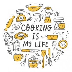 cocina utensilios premium conjunto doodle kawaii estilo vector