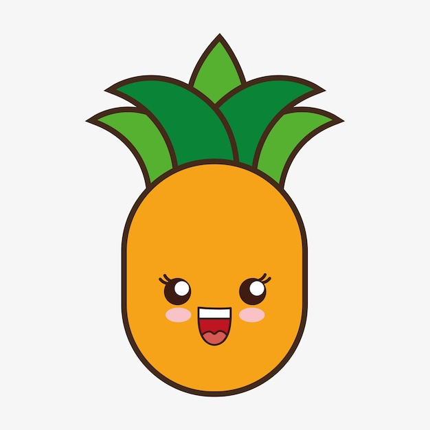 Dibujos animados de pia kawaii sonriendo icono de comida