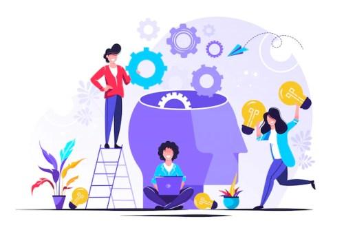 La empresa se dedica a la búsqueda conjunta de ideas | Vector Premium