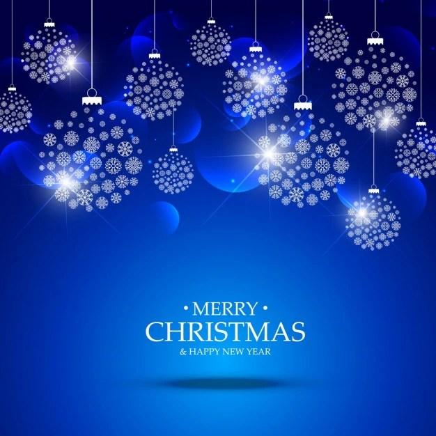 Fondo Azul De Bolas De Navidad Hechas De Copos De Nieve