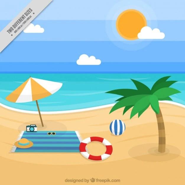 Fondo de paisaje de playa con accesorios  Descargar