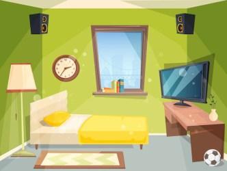 Habitación para adolescentes pequeño dormitorio para niños apartamento para estudiantes dentro de la casa interior moderno de dibujos animados Vector Premium