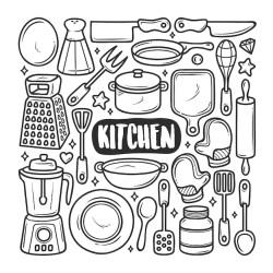 Iconos de cocina dibujado a mano doodle para colorear Vector Premium