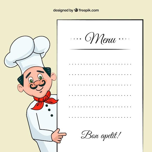 Ilustracin chef con una plantilla de men  Descargar