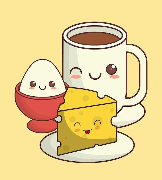 Imagen de icono de comida kawaii de desayuno  Descargar