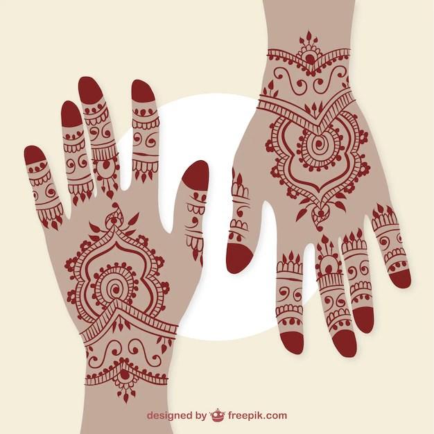 Manos Con Tatuajes De Henna Descargar Vectores Premium