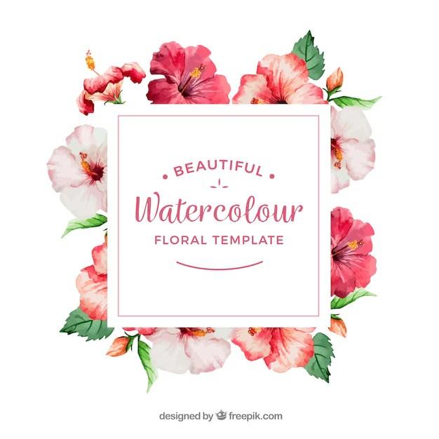 Marco decorativo con flores de acuarela  Descargar Vectores gratis