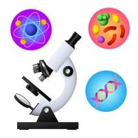 Microscopio, adn, bacteria y vector átomo. vector gratuito