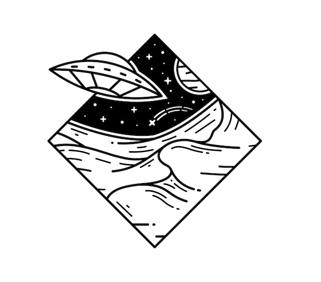 Ovni en el espacio galaxy tattoo monoline badge design