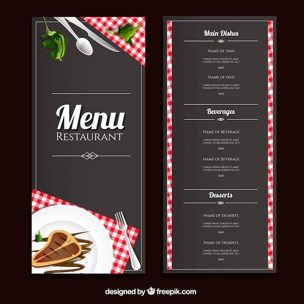 Plantilla de men de restaurante  Descargar Vectores Premium