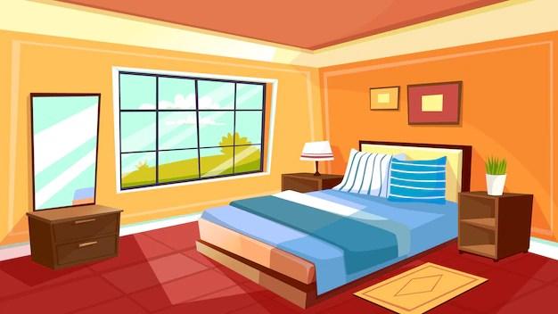 Plantilla de fondo interior de dormitorio de dibujos