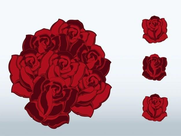 Rosas Rojas Hermosas Tatuajes Vector Romántico Descargar Vectores