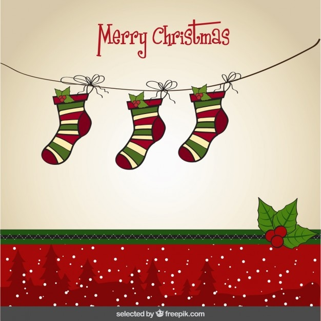 Tarjeta De Navidad Con Los Calcetines Colgados Descargar