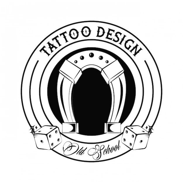 Tatuaje De La Vieja Escuela Con Diseño De Dibujo En Herradura
