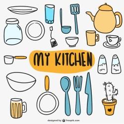 utensilios cocina vector cozinha doodles gratis utensili cucina kitchen animados cartoon vectores kritzeleien freepik garabateados scrapbook utensils graphics elements keukengerei