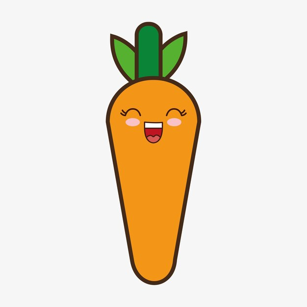 Zanahoria kawaii caricatura sonriente comida sana