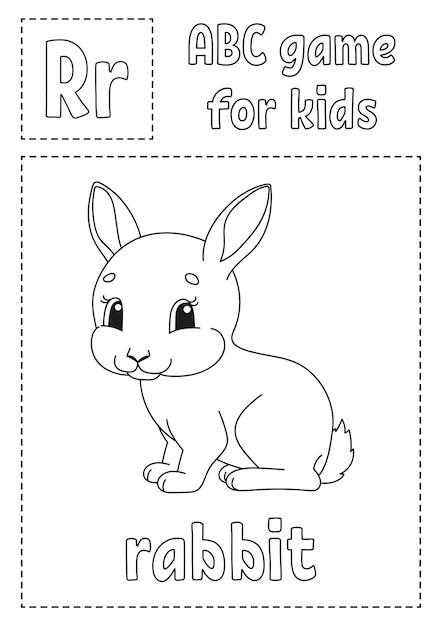 Abc-spiel für kinder alphabet malvorlagen Premium-Vektor