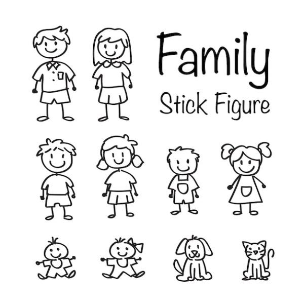 Familie Strichmännchen Doodle Set Download der Premium