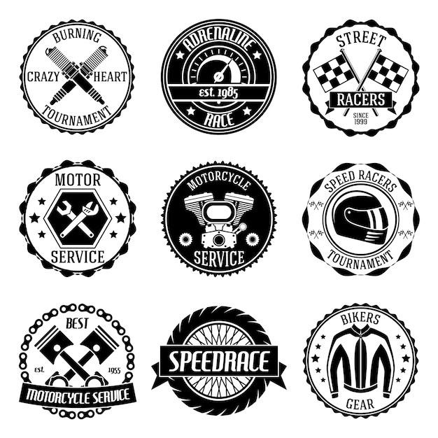Motorrad-renn-turnier motor service embleme schwarz