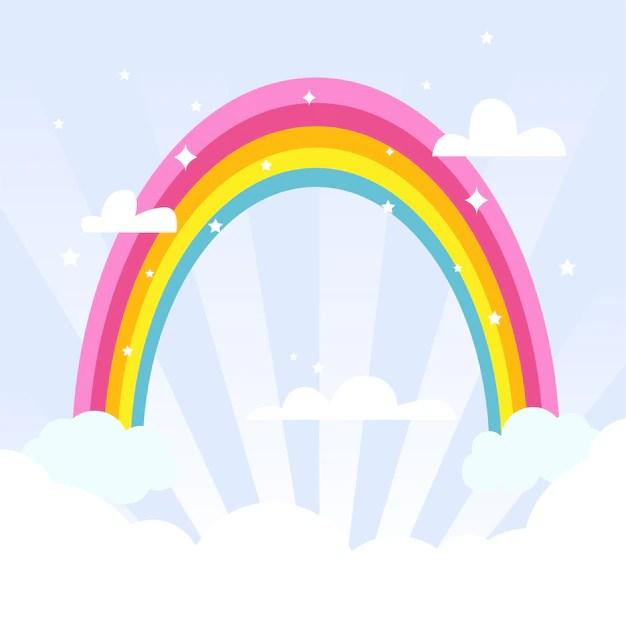 Netter regenbogen am himmel Kostenlose Vektor