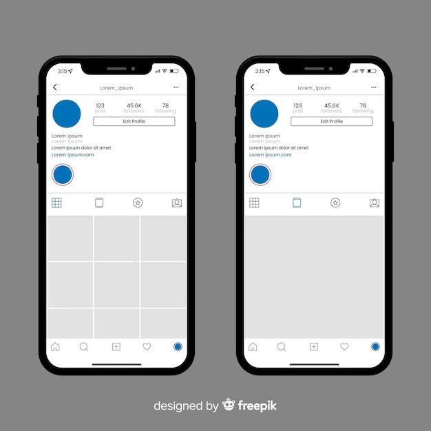Realistischer instagram-fotorahmen auf iphone-sammlung   Download der kostenlosen Vektor