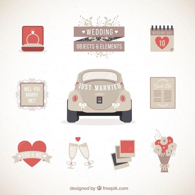Retro Hochzeit Auto mit anderen Elementen  Download der kostenlosen Vektor