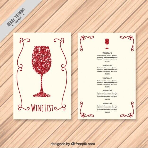 Vorlage von Hand gezeichnet Weinkarte  Download der