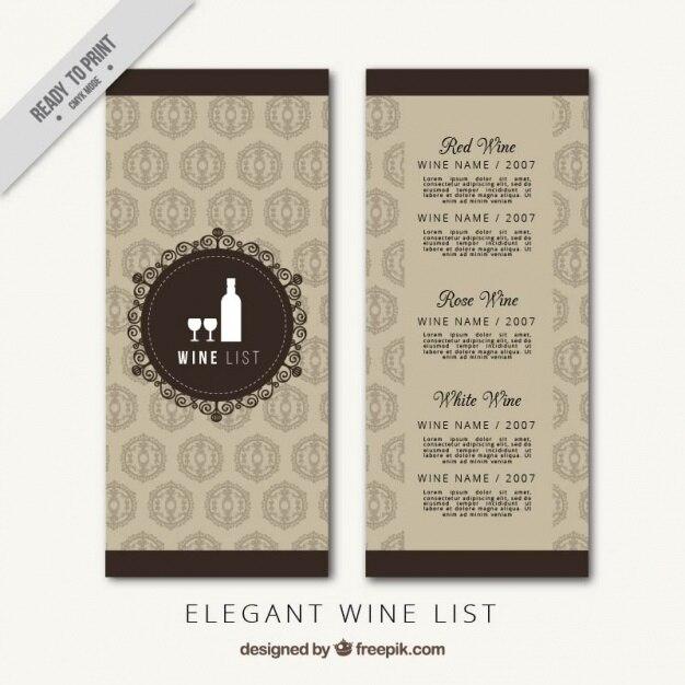 Vorlage von luxusweinkarte  Download der kostenlosen Vektor