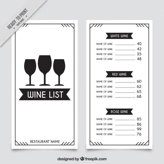 Weinkarte vorlage mit drei glsern  Download der
