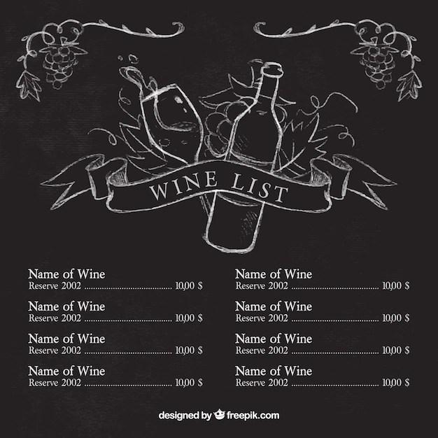 Weinkarte Vorlage mit Skizzen auf Tafel  Download der